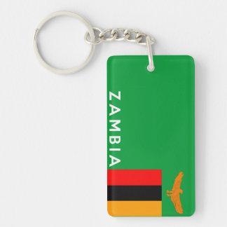 zambia country flag text name Single-Sided rectangular acrylic key ring