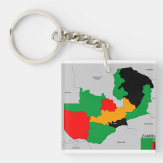 zambia country political map flag Double-Sided square acrylic key ring