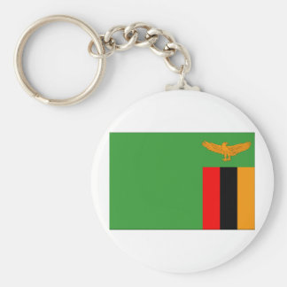 Zambia Flag Basic Round Button Key Ring