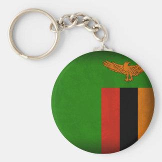 Zambia Flag Distressed Keychain