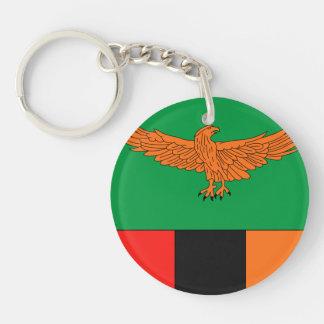 Zambia Flag Double-Sided Round Acrylic Key Ring