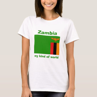 Zambia Flag + Map + Text T-Shirt
