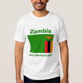 Zambia Flag + Map + Text T-Shirt