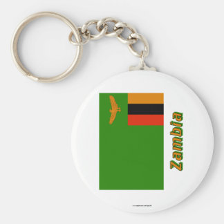 Zambia Flag with Name Basic Round Button Key Ring