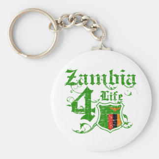 Zambia for life basic round button key ring