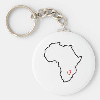 Zambia Heart Basic Round Button Key Ring