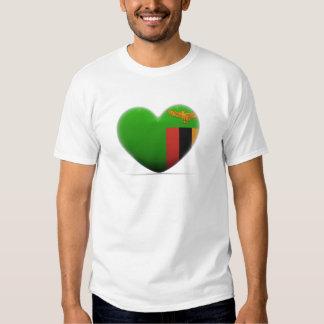 Zambia Heart Flag T Shirts