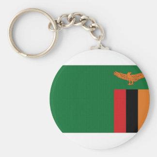 Zambia National Flag Basic Round Button Key Ring