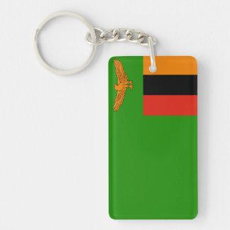 Zambia National World Flag Double-Sided Rectangular Acrylic Key Ring