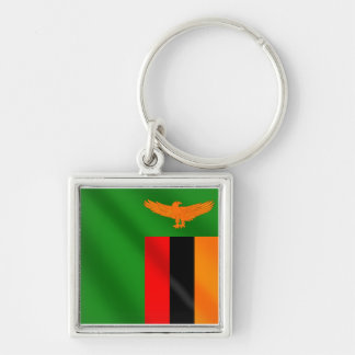 Zambian flag of Zambia 2012 Soccer Champions Silver-Colored Square Key Ring