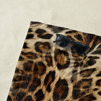 Zany and Spiffy Leopard Spots Leather Grain Look Beach Towel