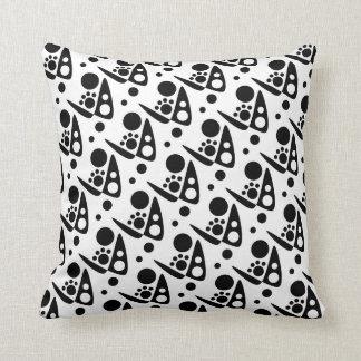 Zany Black and White Abstract Cushion