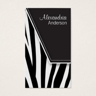 Zany Hip Zebra Print Business Cards (black)