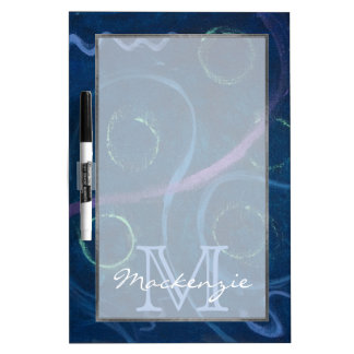 Zany Kitchen | Monogram Cute Chalk Scribble Blue Dry Erase Boards