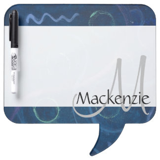 Zany Kitchen | Monogram Cute Chalk Scribble Blue Dry Erase Whiteboard