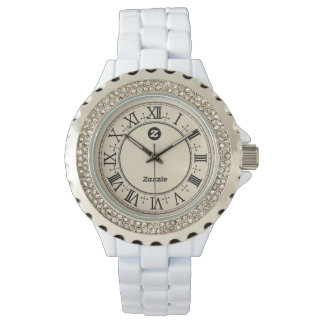 Zazzle Women's Rhinestone White Enamel Watch