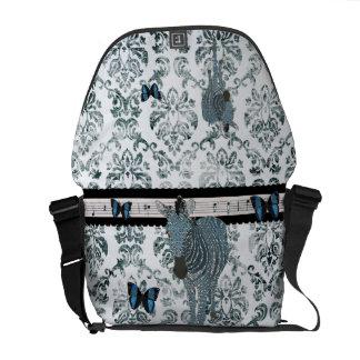 Zeb Boho Blue Topaz Butterflies Grunge Damask Mess Courier Bags