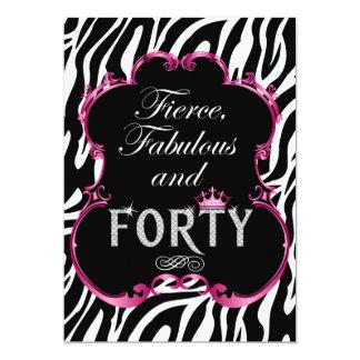 Zebra 40 and Fabulous Bling Birthday Invitation