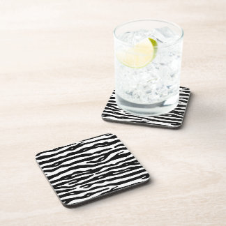 Zebra Animal Print Black White Stripes Pattern Coaster