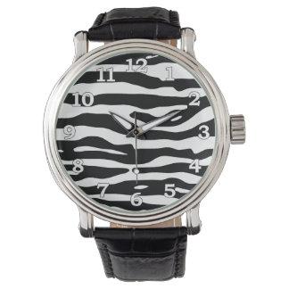 Zebra Animal Print Black White Stripes Pattern Watch