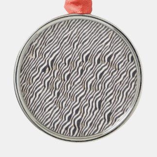 Zebra Animal Print Pattern Silver-Colored Round Decoration