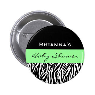 Zebra Baby Shower Custom Name 6 Cm Round Badge