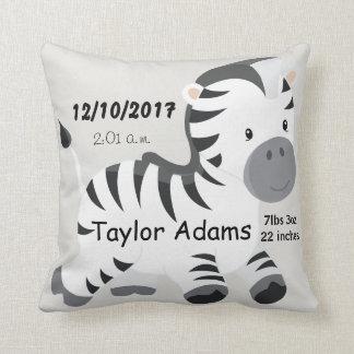 Zebra Birth Stats Baby Nursery Cushion