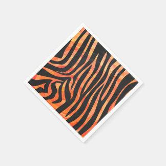 Zebra Black and Orange Print Disposable Serviettes