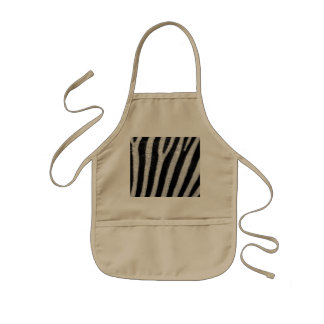 Zebra Black and White Striped Skin Texture Templat Kids Apron