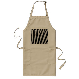 Zebra Black and White Striped Skin Texture Templat Long Apron