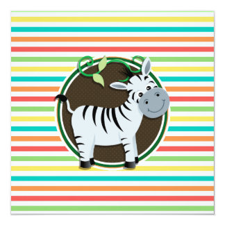 Zebra; Bright Rainbow Stripes 5.25x5.25 Square Paper Invitation Card