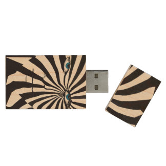 Zebra face USB, 8gb, Rectangle Wood USB 2.0 Flash Drive