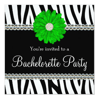 Zebra Green Daisy Printed Gems Bachelorette Party Card