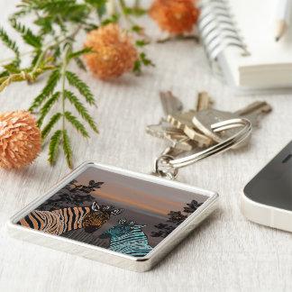 Zebra Habitat Silver-Colored Square Key Ring