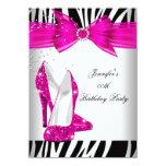 Zebra Hot Pink High Heel Shoe Black Birthday Party Custom Announcement