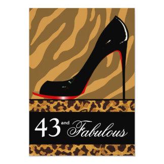 Zebra Leopard Stiletto 43rd Birthday Safari Party 13 Cm X 18 Cm Invitation Card