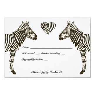 Zebra Love rsvp with envelopes Personalized Invitations