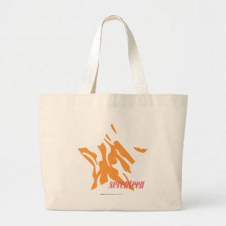Zebra Orange 3 Large Tote Bag