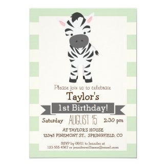 "Zebra; Pastel Green Stripes 5"" X 7"" Invitation Card"