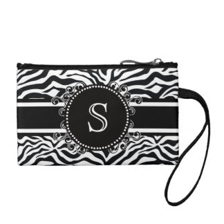 Zebra Pattern with Monogram Cool and Bold Coin Purse