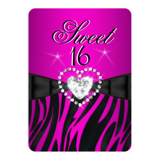Zebra Pink Sweet 16 Sixteen Birthday Party Personalized Announcement