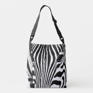 Zebra portrait black and white crossbody bag