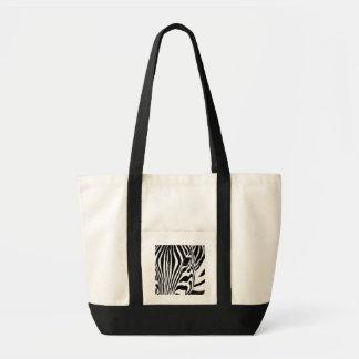 Zebra portrait black and white tote bag