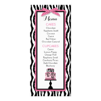 Zebra Print and Cake Bakery Menu Card Personalised Rack Card