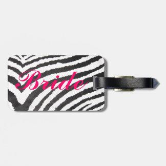"Zebra print ""Bride"" luggage tag"