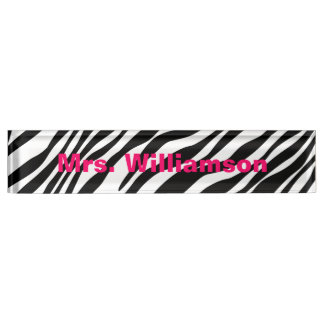 Zebra Print Custom Monogram Desk Name Plate