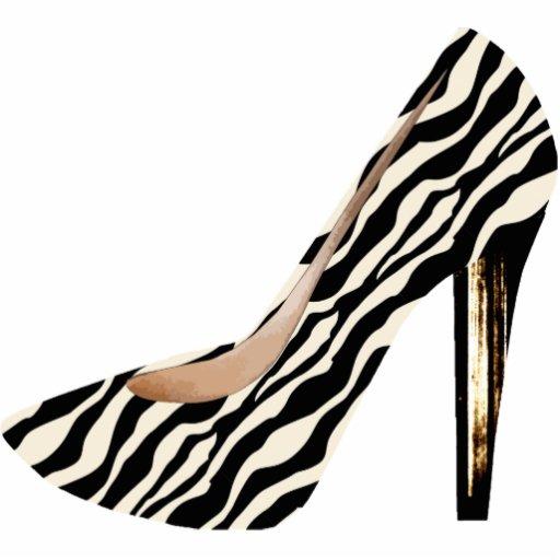 Zebra Print Fashion Shoe 3D Acrylic Ornament Photo Sculptures