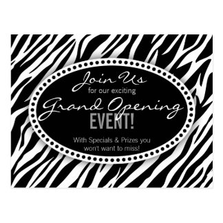 Zebra Print Hair Salon Grand Opening Postcard
