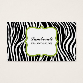 Zebra Print Hair Stylist Hairdresser Salon Green Business Card