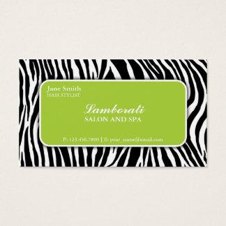 Zebra Print Hair Stylist Hairdresser Salon Green Business Card